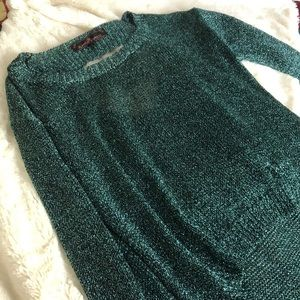 Metallic knit blue green sweater Almost Famous